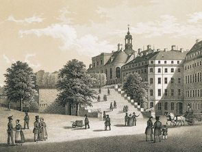 Historical view of Bruehl's flight of stairs to the garden